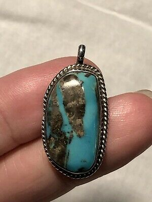 Old Vintage Pawn Native American Sterling Silver Turquoise Necklace Pendant