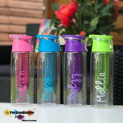 Named Childs Kids Neon Bright Colour Boys Water Bottle.School Sports FFU8
