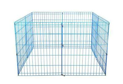48-Blue Tall Dog Playpen Crate Fence Pet Kennel Play Pen Exercise Cage -8 Panel