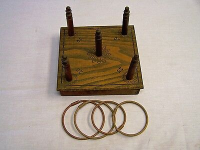 LATE 1800's FANTASTIC ANTIQUE HAND OAK MADE WOODEN RING TOSS GAME