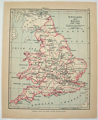 Vintage Map of England & Wales 1485-1603 by Longmans Green 1907. Antique