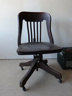 1914 Milwaukee Chair Co Rolling Swivel Adjustable Tilt Solid Wood Desk Chair