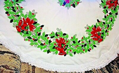 """Christmas Round Tablecloth w/Fringe Green Holly Berries Bells Bows 67"""" x 61"""" #27"""