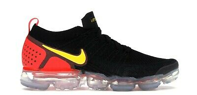 Men's 11.5 Nike Air Vapormax Flyknit 2 Black Laser Orange Crimson 942842-005