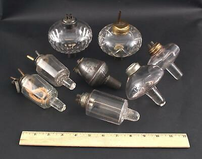 Antique 19thC Whale Oil, Candlestick Peg Lamps & Burners, NO Reserve!