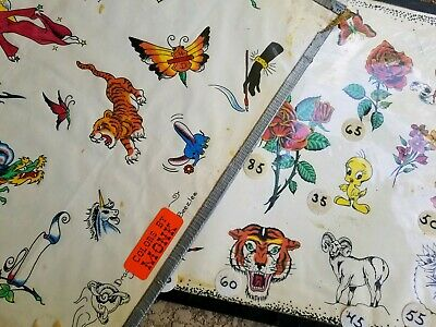 (2) vintage 80s productuon tattoo flash, freaky cartoon rose tiger colors:monk