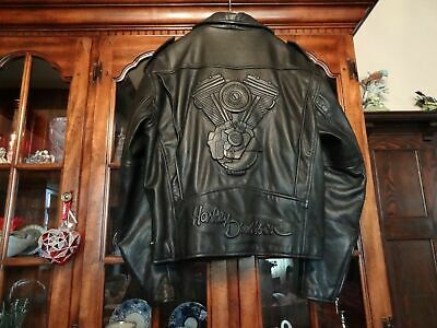 Vintage Harley Davidson 1983 Super Glide Ii Embossed Leather Jacket Mens Medium