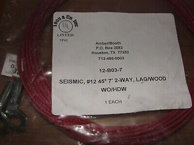 Amber/Booth 7' 2-Way Sway Brace Cable 12-BO3 -7' Seismic # 12 45 degree