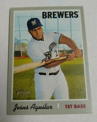 2019 Topps Heritage JESUS AGUILAR Short Print SP card MILWAUKEE BREWERS #476