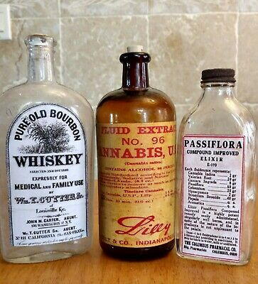 Old Medicine Bottle Hand Crafted, Cannabis, Family Whiskey, Passiflora Cannabis