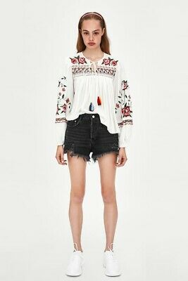 b8abc7fa NWD ZARA White Multicolor Embroidered Tunic Flower Flowy Tassels Size S SEE  PIC!