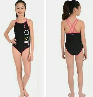 NWT CALVIN KLEIN Girls One-Piece Graphic Swimsuit Black/Pink SELECT SIZE