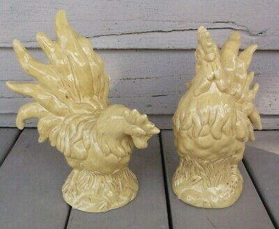 Pair Of Antique Style Country French Inspired Rooster Figurines