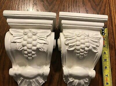 Pair Large Grape Tall Wood Corbels Vintage White Paint Primed Shelf 13""