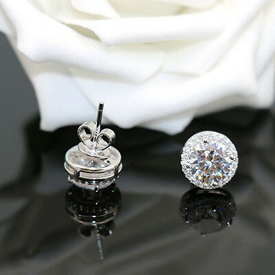 Fashion Silver Plated Round Stud Earrings Diamate Round Crystal Cubic Zirconia