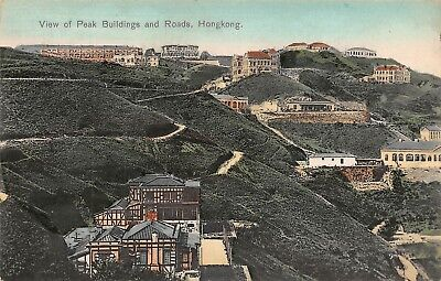 CHINA RARE! 1900's Peak Buildings and Road in Hong Kong China - by M. STERNBERG