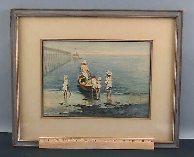 Antique Early 20thC Impressionist Watercolor Painting Family & Beach Steamship