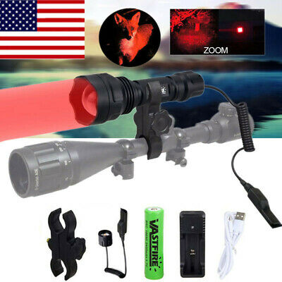 US Tactical Flashlight Zoom Coyote Hog Fox Predator Varmint Hunting Lamp Switch