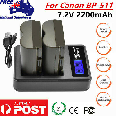 2× 2200mAh BP-511 Battery+DUAL Charger for Canon EOS 10D 20D 30D 40D 50D D30 D60