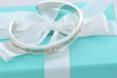 Tiffany & Co. MEDIUM Sterling Silver Atlas Roman Numeral Cuff Bracelet Bangle
