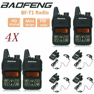 4 X Baofeng BF-T1 Mini Walkie Talkie Portable Two Way Radio 400-470MHz+Earpieces