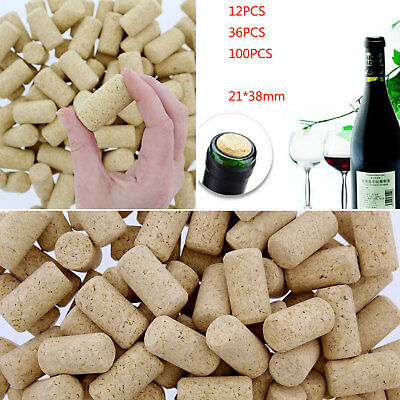 12/36/100Pcs Conical Natural Stoppers Wine Corks Crafts Bottle Corks Bottling AU
