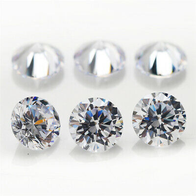 100pcs 0.7~50mm Round 8 Hearts And 8 Arrows White loose cz stone cubic zirconia