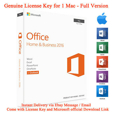 Microsoft Office 2016 Home And Business For Mac Genuine License Key