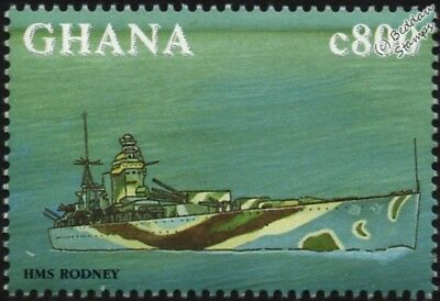 HMS RODNEY (29) Battleship WWII Royal Navy Warship Ship Stamp (1998 Ghana)
