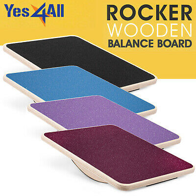 Yes4All Rocker Wooden Balance Board 17.5 Inch Stability Disc Supports 350 Lbs