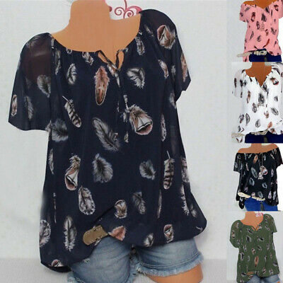 Womens Summer Top Short Sleeve Loose Fit Blouse Lady Plus Size Boho Shirt Tshirt