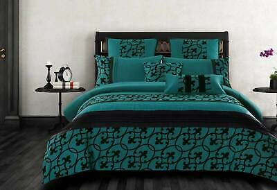 Halsey Teal green Quilt Cover 3pcs luxton flocking duvet cover Set / Accessory