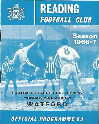Football Programme - Reading v Watford - League Cup Replay - 29/8/1967