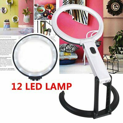5X Large Magnifying Glass With Light LED LAMP Magnifier Foldable Stand Table AU