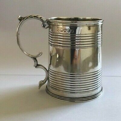 Antique Joseph & John Angell 1934 William IV solid silver 112g christening mug