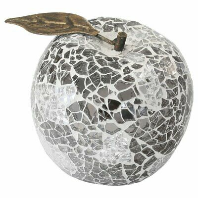 Set of 3 Mirrored Mosaic Apples Sculptures - Modern Pear Kitchen Fruit Bowl Deco