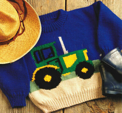 Baby TODDLER  knitting pattern copy TRACTOR Sweater Jumper