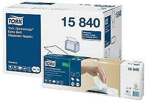 4000 x Tork Xpressnap White Dispenser Napkin - 2ply 4fold Compostable | Catering