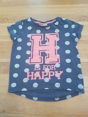 Girls toddler Blue & Grey Spot Tshirt Age 12-18 Months Next 'H is for happy'