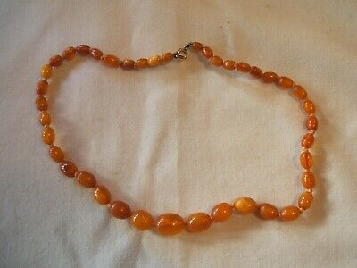 Vintage Art Deco Genuine Old Butterscotch Amber Bead Necklace