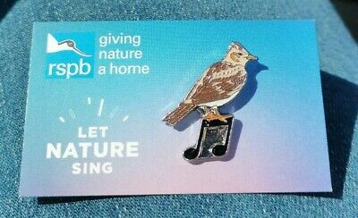 * RSPB PIN BADGE * Special Picture Background * SKYLARK - LET NATURE SING *