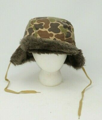 3b42ec8361e6e0 Vintage Bowning Fur Goose Down Insulated Bomber Trapper Hat Camo Mens Size  Large
