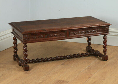 Antique French 19th Century Carved Oak Rectangular Centre Coffee Table c.1870