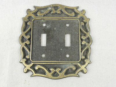 Vintage Brass National Lock Double Light Switch Plate Cover - H6-3636-001