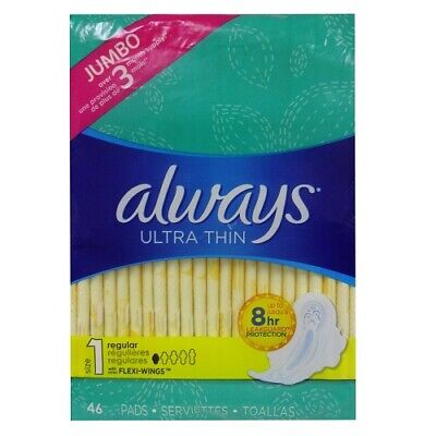 New 823232  Always Maxi Pads 46Ct Thin Flexi- Wings (6-Pack) Feminine Hygiene