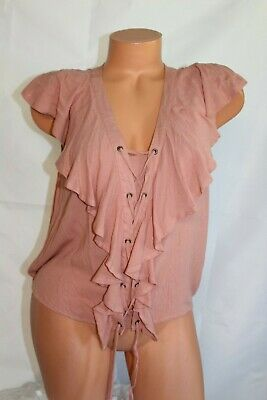 AMERICAN RAG CIE (XL) Tank Top Crepon DESERT SAND DUNE Ruffle Lace Up Blouse