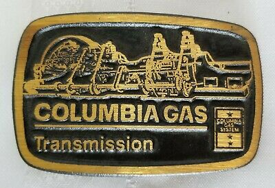 Vintage Columbia Gas Transmission Solid Brass Belt Buckle - Dyna Buckle Provo UT