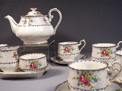 Royal Albert Tea Coffee Set Teapot Creamer Sugar Bowl Bone China Petit Point