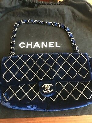 f26d91df6f4453 Authentic Chanel blue velvet and silver chain, quilted East West Flap bag