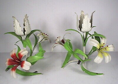 Pair Vintage Italian Tole Candle Holders Lilies Metal Toleware Italy